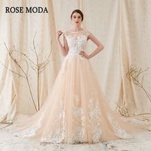 Rose Moda vestido de boda de encaje floral 3D bajo V espalda marfil sobre vestidos de novia de Champagne 2018
