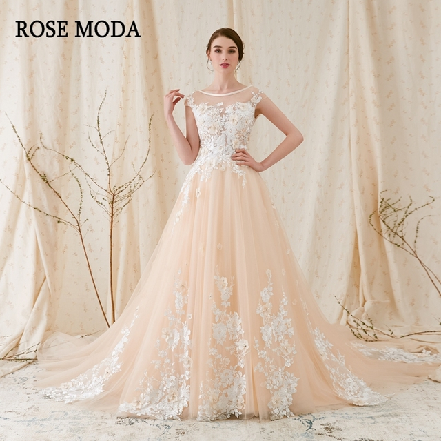 Champagne Lace Wedding Gown: Rose Moda Modern 3D Floral Lace Wedding Dress Low V Back