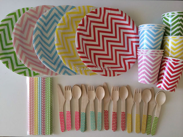 disposable paper plates and cups wedding party supplies chevron paper straws wooden fork spoon knift