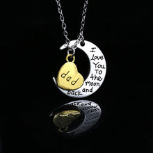 "Silver Moon Golden Heart Word ""Daughter Son Mom"" etc Family Necklace for Women Men(China)"