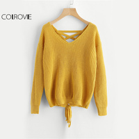 COLROVIE Boho Lace Up Back Sweater Women Mustard Long Sleeve Casual Jumper Fall 2017 Fashion Vintage