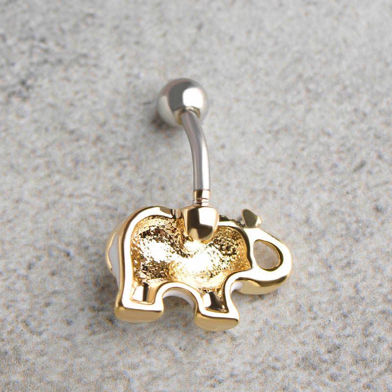 """טבעות בטן טבור פיל האמייל Esmalte Madrry לנשים בר פירסינג כירורגי פלדת צבע זהב טיטניום רפואי מחץ 1.6 מ""""מ"""