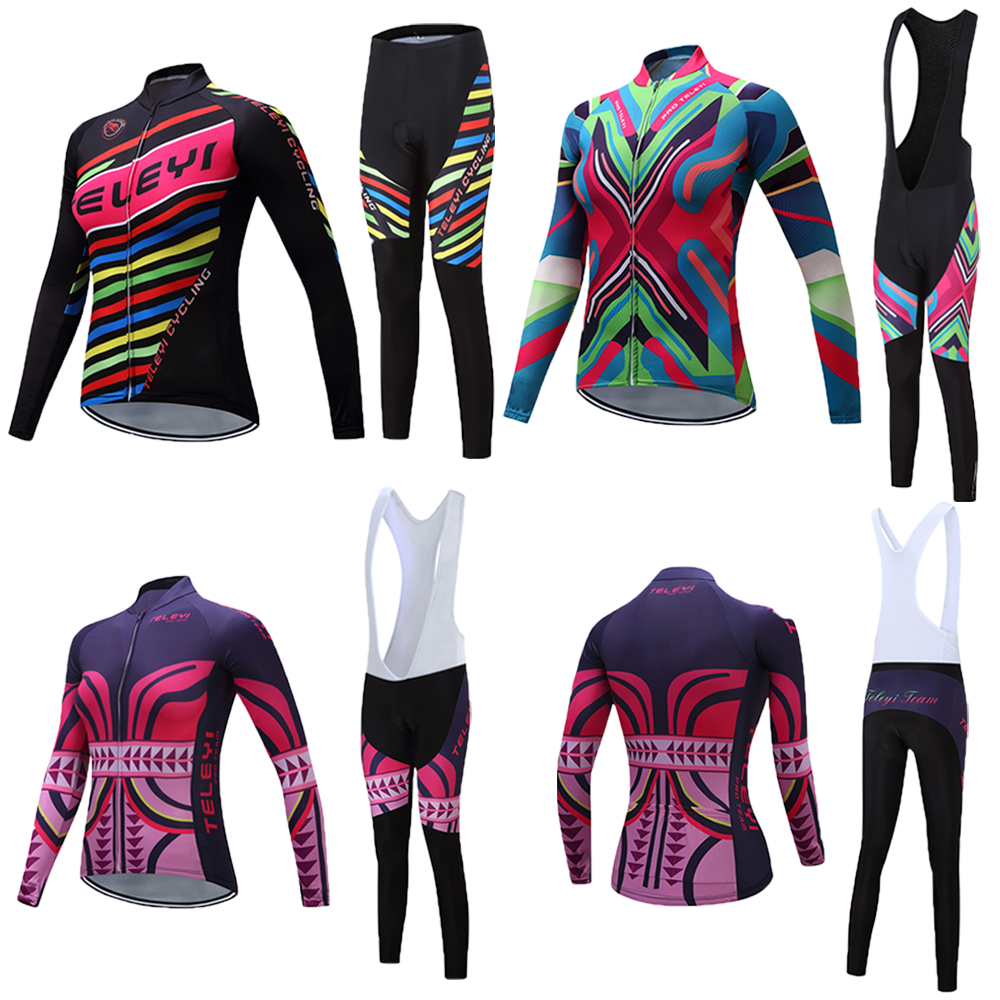Women TELEYI Bike Clothing Suits Female 2019 Maillot Ciclismo Bib Pants Sets Cycling Clothes Kits Bicycle Jersey Uniform wear