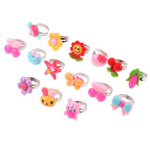 10Pcs/lot Adjustable Cartoon Rings For Girls Dress Up Accessories Party Favors Kids Toy Random(China)