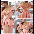 Elegant Short Pink Arabic Design Sheath Short Sleeeve Appliqued Beaded Ruffle Cap Sleeve Sweetheart Neckline Celebrity Dress