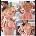 Elegante Curto Rosa Design Árabe Bainha Curto Sleeeve Appliqued Frisado Plissado Da Luva do Tampão Decote do Vestido Da Celebridade