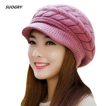 Новинка, женская зимняя шапка, теплые шапки с флисовой подкладкой, вязаные шапки для женщин, шапка из кроличьего меха, осенняя и зимняя женская модная шапка