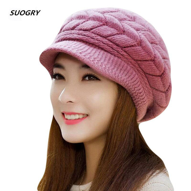 New Women Winter Hat Warm Beanies Fleece Inside Knitted Hats For Woman Rabbit Fur Cap Autumn And Winter Ladies Fashion Hat