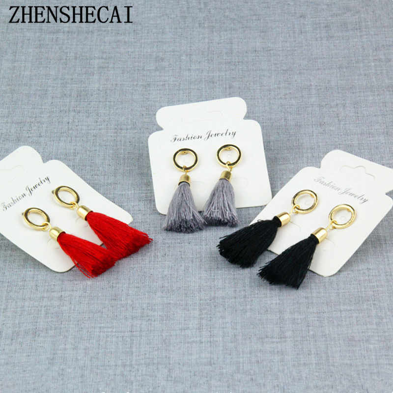 Black red grey long tassel earring drop for women fashion jewelry circle geometric earring boucles d'oreille hot sale e0102