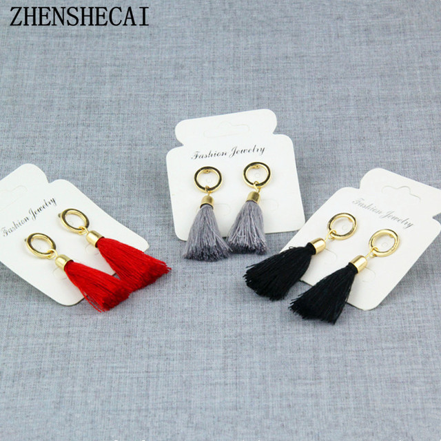 Black red grey long tassel earring drop for women fashion jewelry circle geometr