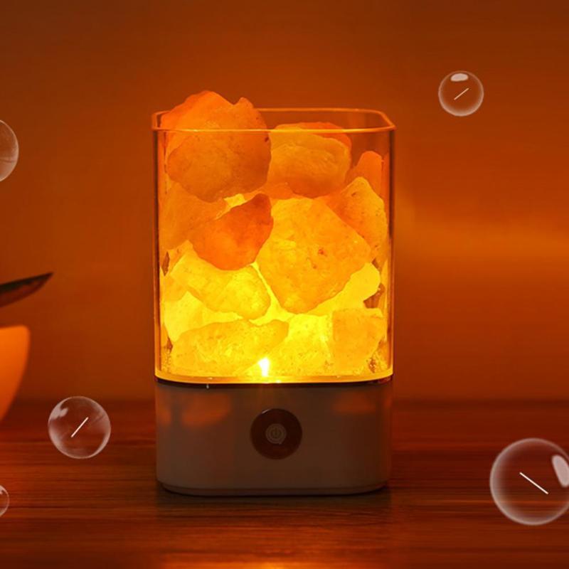 USB Salt Lamp Crystal Light Natural Himalayan LED Light Air Purifier Mood Creator Indoor Warm Light Table Lamp Bedroom Lava Lamp