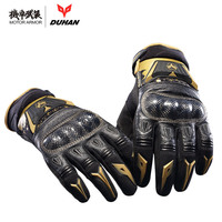 Brand Duhan DS03 Motorcycle Riding Leather Carbon Gloves Motocross Off Road Racing Full Finger Guantes For