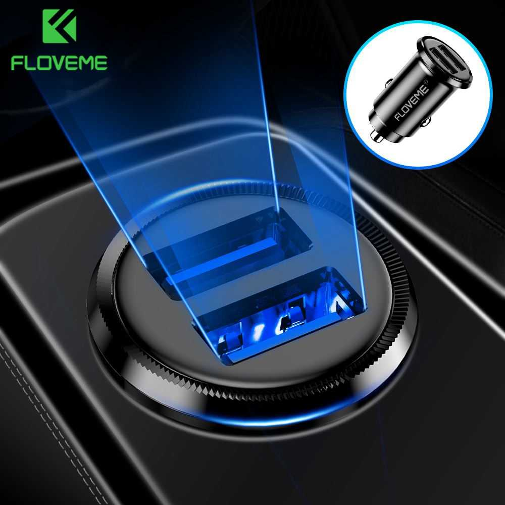FLOVEME Mini USB Car Charger For iPhone X 8 7 6 Plus 3.1A Fast Car Charger For Xiaomi Redmi Note 7 Dual USB Car Charger Adapter