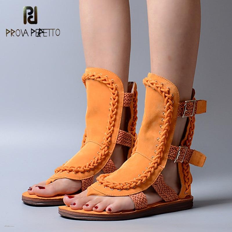 Prova Perfetto Gladiator หนังวัวสไตล์หนังสายคล้องข้อมือเปิดรองเท้า Toe Splendid แบนด้านล่างนุ่มกลางสูงรองเท้าแตะ-ใน รองเท้าแตะสตรี จาก รองเท้า บน   1