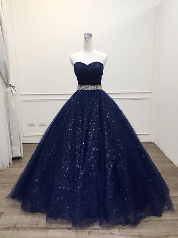 Custom Made Plus Size 2019 Robe De Mariage Princess Bling Bling Luxury Navy blue Ball Gown   evening     Dress   Vestido De Noiva
