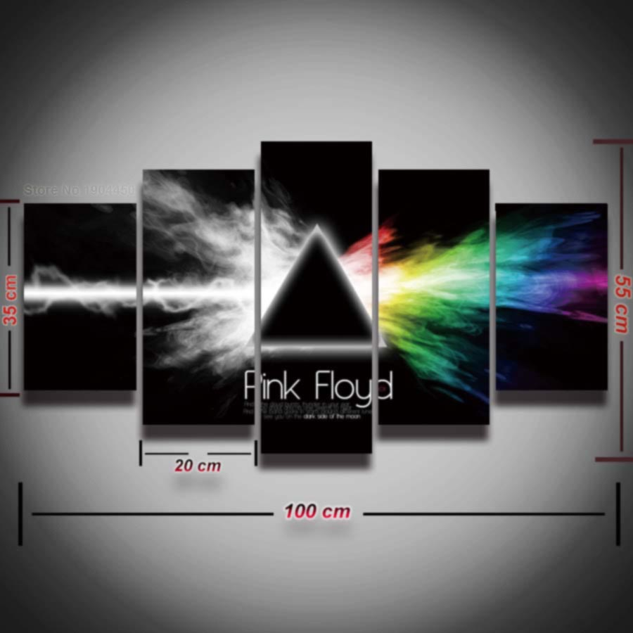 Buy 5 panel printed pink floyd rock music for Pink wall art