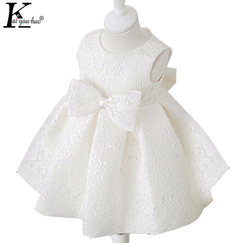 2017 Summer Lace Dress Baby Girl Clothes Birthday Party Princess Tutu Dresses For Girls Sleeveless Bowknot Kids Vestidos Costume