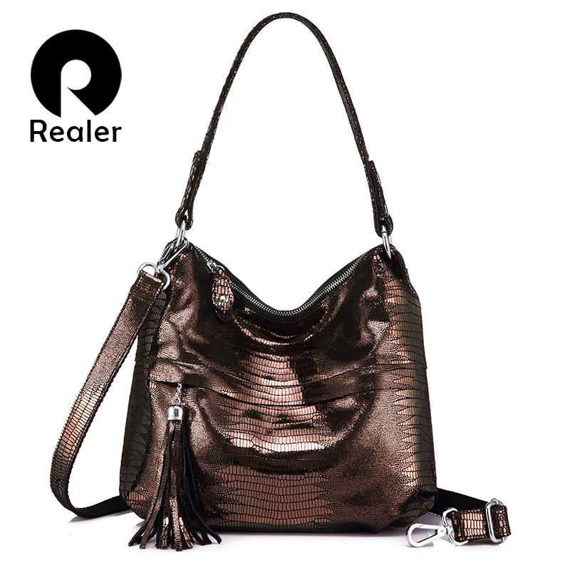 REALER ladies genuine leather handbags hobos female tassel shoulder messenger bag women totes crossbody top-handle bags student