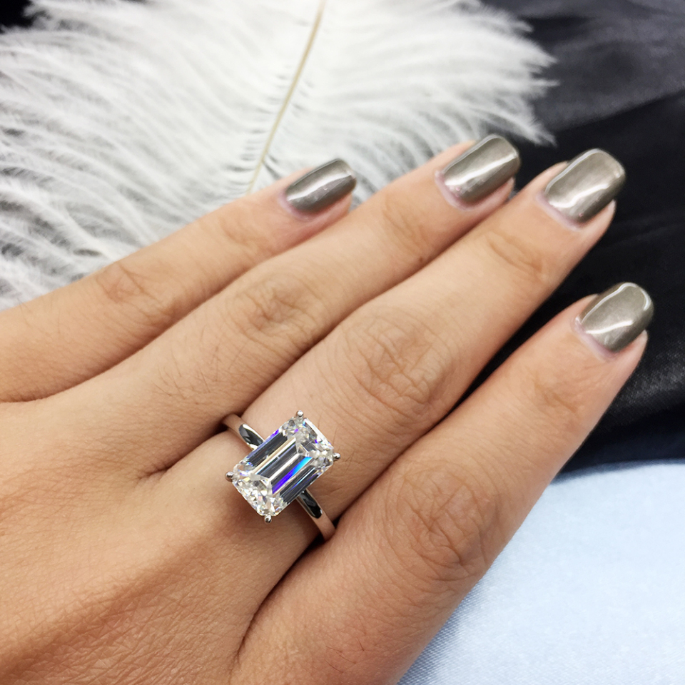 AEAWLuxury 3carat Moissanite Ring Solid 18K White Gold Engagement Ring Emerald Cut Lab Grown Diamond Wedding Ring For Women| | - AliExpress