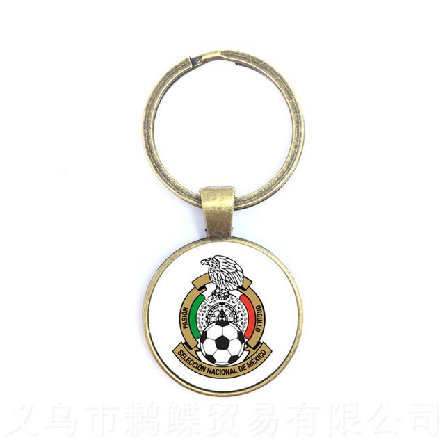 Japan,Portugal,Nigeria,Mexico,Morocco National Football Team LOGO Soccer Glass Dome Pendant Keychain Souvenir Gift