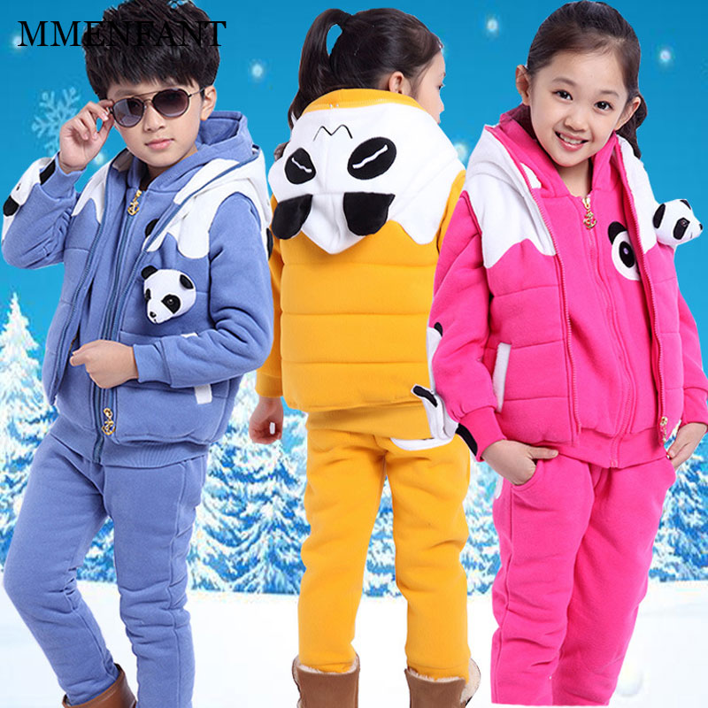 Winter children clothes panda 3pc suit boy girl thickening plus cashmere sweater +vest+pants kids sports suit for teenager 2-12Y cute puppy baby girl clothes set children hoodies 2017 winter new boy hooded cashmere sweater kids thick two piece suit