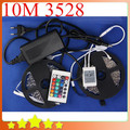 New DIY Waterproof 10M 3528 RGB LED Strip + 24Key IR Controller + 12V 5A Adapter 3528 RGB LED Strip Light Set Free Shipping