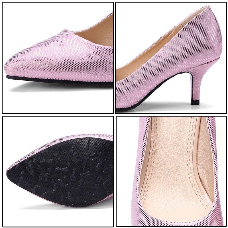 ∞Phoentin rosa stiletto pompe donne 2018 punta a punta slip-on ... e803b91fee8