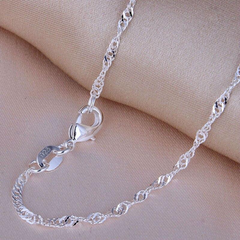 """Gastfreundlich Mode 2mm 925 Schmuck Versilbert Wasserwelle Halskette Ketten, Heißer Verkauf Silber Wasserwelle Kette Halsketten Für Frauen 16 """"-30"""""""