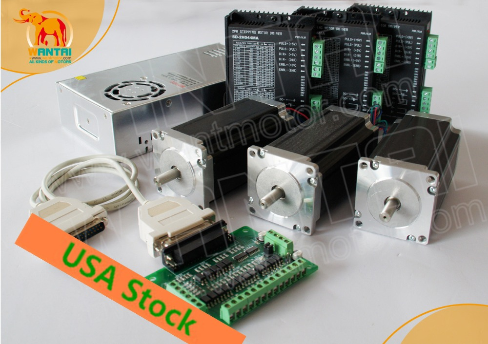 USA Free! Wantai 3 Axis Nema23 Stepper Motor WT57STH115-<font><b>4204A</b></font> single shaft 428oz-in+Driver DQ542MA 4.2A Engraver Kit Plasma image
