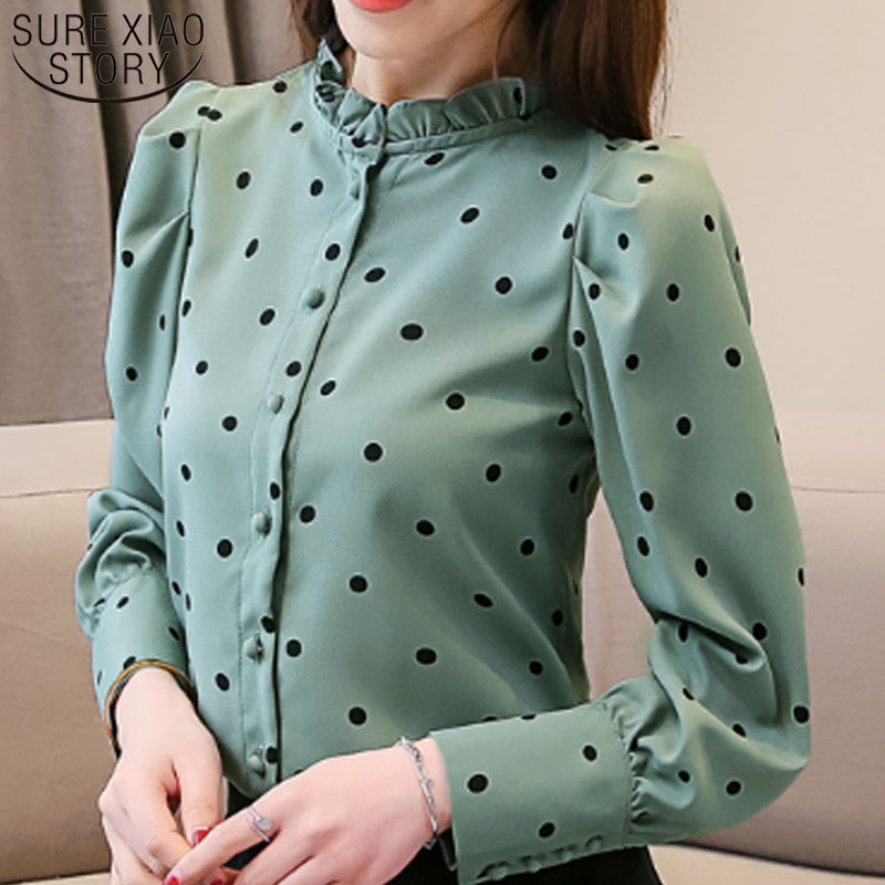 2019 Spring Fashion Women Standing Collar Dot Pattern Women Blouse And Top Office Lady Long Sleeve Shirts Blouse And Top 3076 50