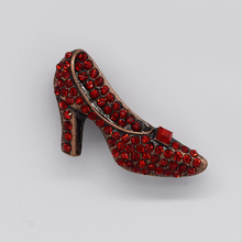 Antique Copper Red Rhinestone Shoes Pin brooches Jewelry gift brooch C137 C3