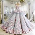 See Through Backless Short Sleeves Ball Gown Lace Turkish Luxury Evening Dress with Flowers Long Party Dress Formal Gown