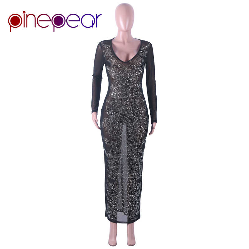 40f10f29bbb ... PinePear Glitter Crystal Diamond Mesh Dress 2019 Winter Women  Rhinestone Deep V-Neck Maxi Dress ...