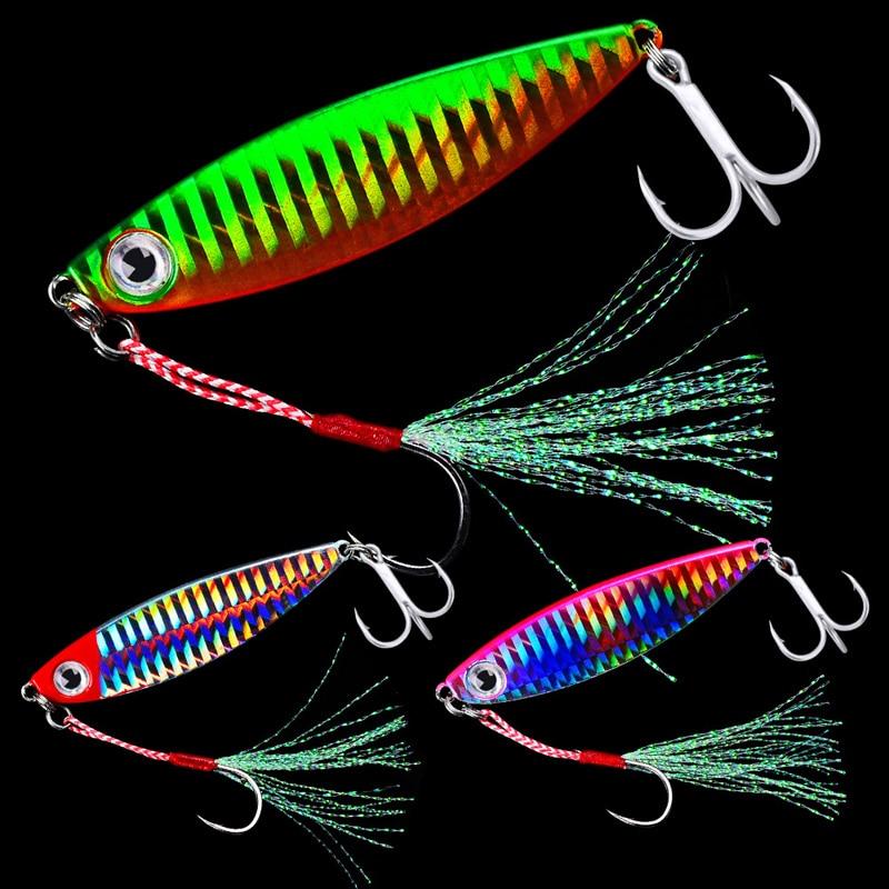 HOT 7/10/15/20/30g Fishing Spoon Spinner Bait Metal Lure Tuna Lures Glow In The Dark Fishing Tackle Lead Minnow Jigging Pesca 30