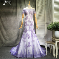 Fashion Lavender Lilac Mermaid Sheath Lace Appliques Evening Dresses Long Off Shoulder Custom Made Womens Formal Maxi Gowns Chic