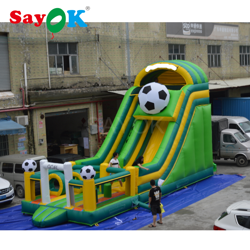 10x4x6mH Giant Inflatable football slide with bouncer, inflatable outdoor games combo inflatable soccer slide for sale