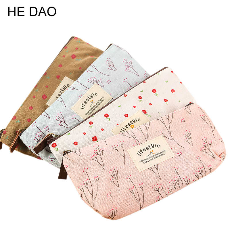 Cute Kawaii Floral Flower Canvas Zipper Pencil Cases Lovely Fabric Flower Tree Pen Bags School Supplies