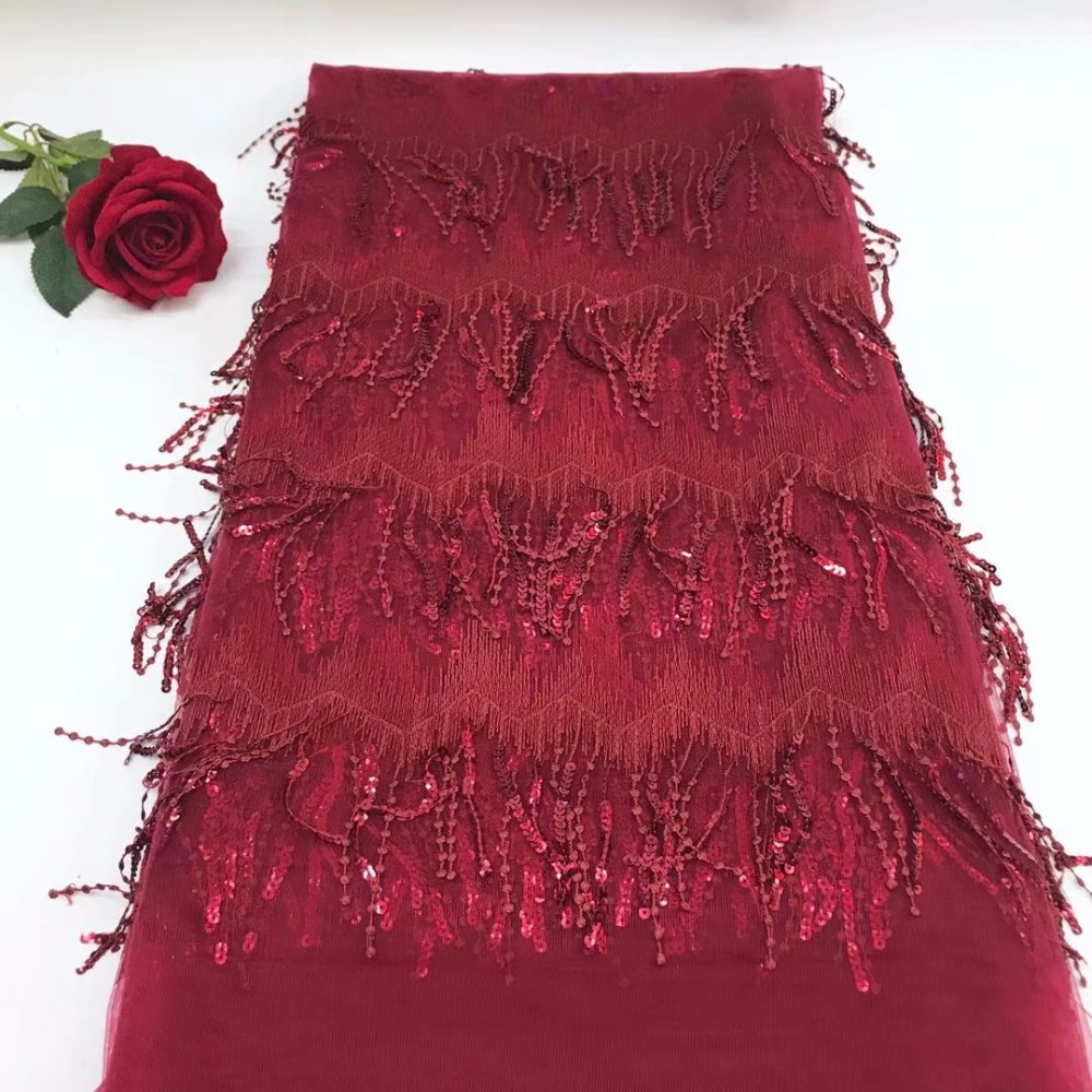 The latest 3D fringe is a high quality African tulle lace fabric high quality Nigerian wedding