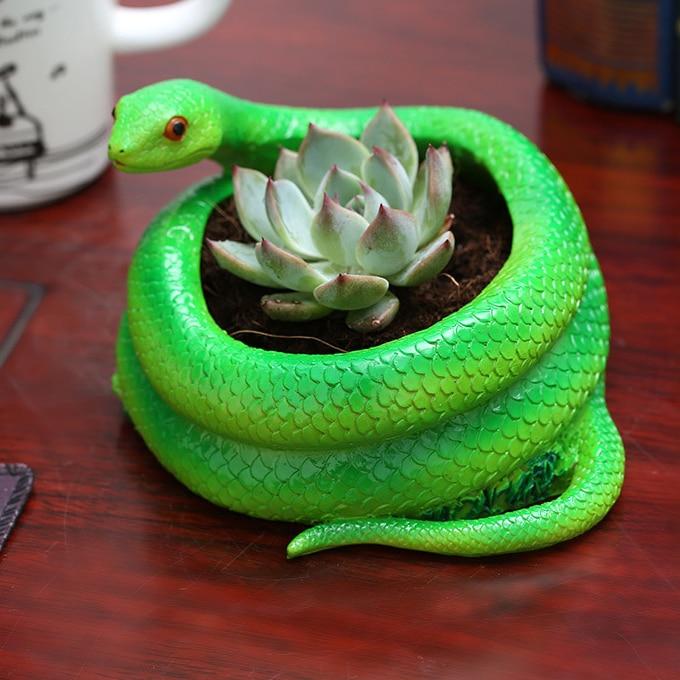 Նոր հովվական ոճով աշխատասեղանի խեժերի ծաղկաման / տնկարկ, օձի ձևի արհեստներ ստեղծագործական մսոտ օձի բույսեր