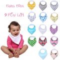 Baby Bandana Drool Bibs, Unisex 9-Pack Gift Set for Drooling and Teething, 100% Organic Cotton, Soft and Absorbent baby bibs