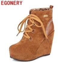 EGONERY chaussures 2017 nouvelle arrivée coins talons cheville bottes femmes noir rouge jaune neige bottes dentelle-up haute qualité bout rond chaussures