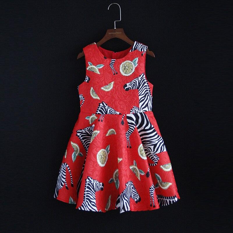 Printemps famille correspondant vêtements enfants vêtements rouge zèbre sans manches jacquard maman et bébé filles robe mère fille gilet robe