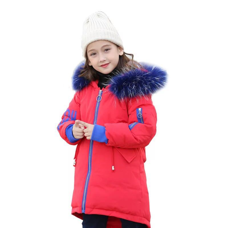 Children's winter jacket girls 2018 fashion winter jacket children warm thick hooded long down coat suitable for teenagers 2017 new winter fashion women down jacket hooded thick super warm medium long female coat long sleeve slim big yards parkas nz18