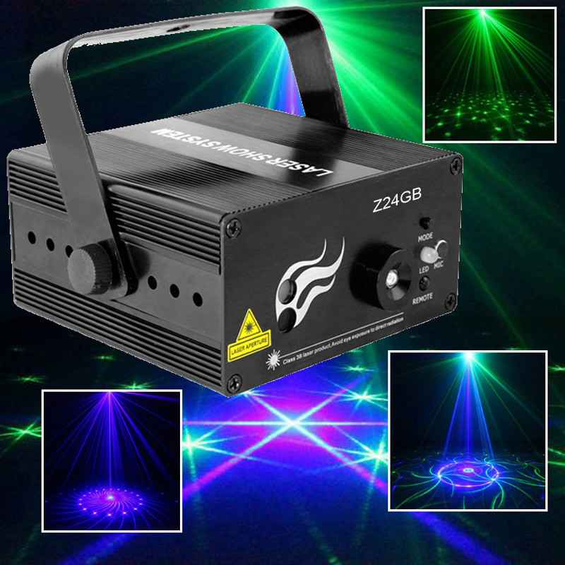 Sound Activated 24IN1 Green Blue Laser Party Floor Dance Light With IR Remote Music Equipment Wedding Party Lights floor