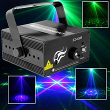 Sound Activated 24IN1 Green Blue Laser Party Floor Dance Light With IR Remote Music Equipment Wedding Lights