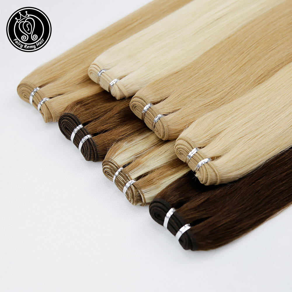 Fairy Remy Hair 100g/pc 20 Inch Remy Human Hair Weft Dark Brown European Straight Hair Extension Strawberry Blonde Weaves Bundle