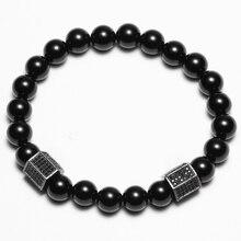 Friendship Elastic Rope CZ Charm Bracelet for men