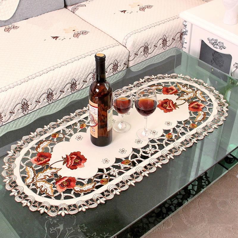 WLIARLEO Oval Satin Tischdecke 140x200 Cm Bestickt Esstisch Tuch Blumen Aushhlen Wohnzimmer Tisch Abdeckung Manteles Para