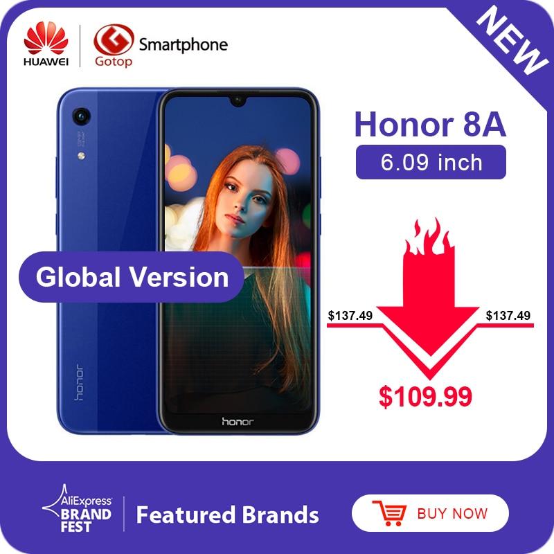 Смартфон Honor 8A, Android 9,0, Восьмиядерный, 6,09 дюйма, полный экран 1560x720, двойная камера, аккумулятор 3020 мАч, 4G LTE сотовый телефон