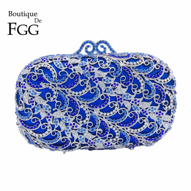 Royal Blue Women Crystal Clutch Evening Bags Diamond Wedding Banquet Handbag Purse Bridal Metal Clutches Shoulder EveningBag
